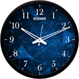 Amazon Brand - Solimo 12-inch Contemporary Plastic & Glass Wall Clock - Designer (Silent Movement, Black Frame)