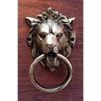 YES I CAN Lion Mouth Brass Door Knocker (Antique Brass)