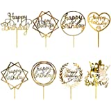 8 Pièces Happy Birthday Cake Topper, CBGGQ Décoration de Gâteaux Fête Décorations, Acrylique Paillettes Cupcake Toppers pour