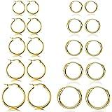 YADOCA 10 paia di orecchini a cerchio per donna uomo arrotondato piccola cartilagine orecchino a cerchio infinito orecchini a