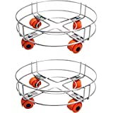 SREEHARI Stainless Steel Gas Trolly/Lpg Cylinder Stand Trolley with Wheels (Silver) - Set of 2 Pieces