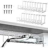 2 packs kabelbeheerlade, 40 cm onder bureau koord organizer voor draadbeheer, metalen draadkabelhouder voor bureaus, kantoren