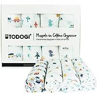 TODOGI Mussole Neonato 100% Cotone Biologico Certificato GOTS Set 4 Disegn 120 x 120 Ideali come Copertina, Bavaglino…