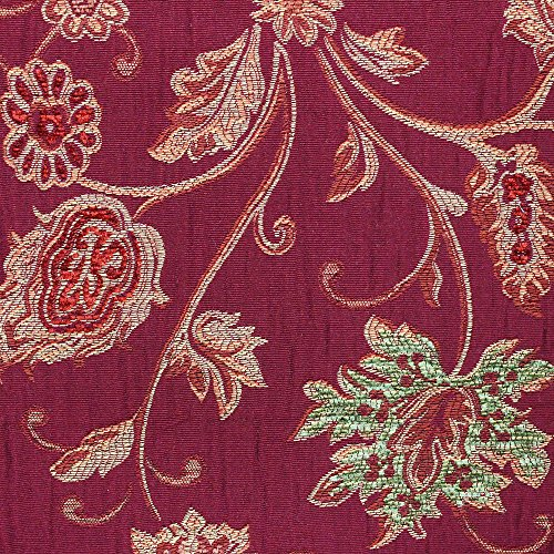 Riva Paoletti Lucerne Cushion Cover – Burgundy Red – Floral Jacquard Design – Onion Tassel Fringing – Decorative Bullion Border – Zip Closure – Synthetic – 45 x 45cm (18″ x 18″ inches)