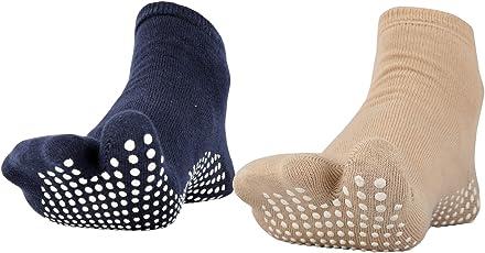 NO FALL Women's Cotton Anti-Slip Socks for Split Toe, Free Size (Pack of 2 , Navy Blue and Dark Skin, NFLSTN_NBLU_DSKN)
