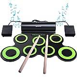 BONROB Batterie Electronique Drum Set, Roll Up percussions Midi Drum Kit avec Casque et Enceintes intégrées Drum Pedals et Ba