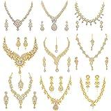 Sukkhi Eye Catching Gold Plated Wedding Jewellery Austrian Diamond Set of 9 Necklace Combo for Women (SKR48724)