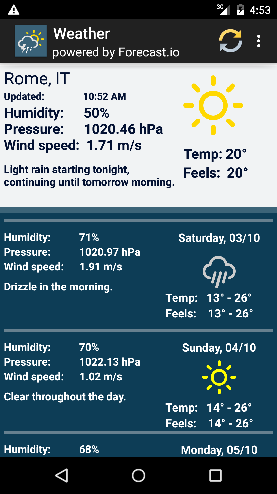 Weather week forcast forecast.io  Amazon.de Apps & Spiele
