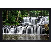 SAF Natural Waterfall Large Synthetic Framed UV Digital Reprint Painting (14 inch x 20 inch) SANFM5356