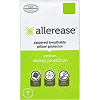 """AllerEase 100% Cotton Allergy Protection Pillow Protectors - Hypoallergenic, Zippered, Allergist Recommended, Prevent Collection of Dust Mites and Other Allergens, Queen Sized, 20"""" x 30"""" (Set of 2)"""