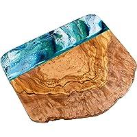 Tagliere in legno d'ulivo con resina blu verde 20 cm