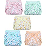 Superminis Baby Boy and Baby Girl Heart Print Cotton Cushioned Nappies Combo (Pack of 5)