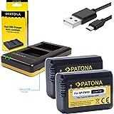 Patona Akku 2x (950mAh) - Ersatz für Sony NP-FW50 mit Patona USB Dual Ladegegerät zu Sony ILCE Alpha 5100 6000 6300 6500 / A55 A33 A35 A37 / 7 7II 7S / DSC RX10 / NEX usw.