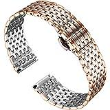 BINLUN Bracelets de Montre en Acier Inoxydable à Mailles Fines Remplacement Léger Bracelet Poli pour Montre pour Femme 12mm/1