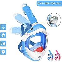 Tauchmaske Kinder Schnorchelmaske Tauchermaske Vollmaske mit Hai-Design-180 ° Breites Sichtfeld und Abnehmbare…