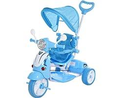 HOMCOM Triciclo para Niños Mayores de 12 Meses Triciclo Evolutivo Plegable con Funciones de Luz y Música Toldo Forma de Motoc
