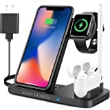 KINH DOANH Wireless Charger, 4 in 1 Qi-Certified Wireless Charging Station with Adapter for iphone 12, iphone 11, Wireless Ea