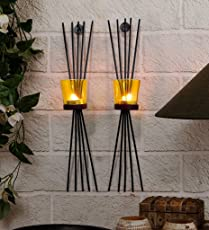 Tied Ribbons Home Decorative Items Decorative Wall Sconce Pack Of 2 (Black, Metal)