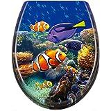 HENGMEI Toiletdeksel met softclosemechanisme, wc-bril, wc-bril, wc-bril, wc-bril, wc-bril, van hard plastic, 45 x 38 cm, onde