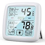 NIXIUKOL Termometro Ambiente Igrometro Digitale Interno Professionale Termoigrometro con Ampio Touch Screen, Indicatore di Co