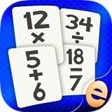 Partido Juegos Matemáticas Flashcard Para Los Niños En La Escuela Primaria Que Estudian La Suma, Resta, Multiplicación Y División