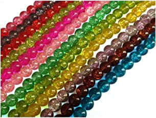 Aumni Crafts Crackle Glass Beads [Delicate Glass] 8mm Round Assorted Color Mix (Pack of 10 strings, 52-53 beads/string)