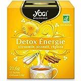 Yogi Biologique Détox Énergie, Infusion 100% Bio Citronnelle, Pissenlit et Réglisse, 12 Sachets thermosoudés et sans agrafe,