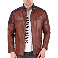 Leather Retail® Brown Crafted Design Faux Leather Jacket for Man's