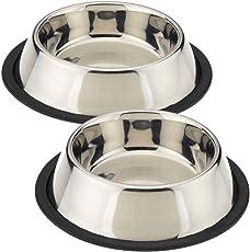 King International Stainless Steel Anti Skid Pet Food Water Bowl (420ml) - Set of 2