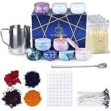 SUPERSUN Kit per Fabbricazione Candele DIY, 480g Cera d'api Naturale, 100 Stoppini Cerato con Sostenitori, 9 Candele Fai-da-T