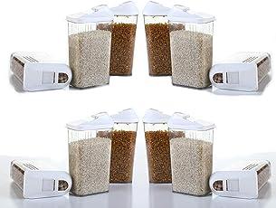Atman Transparent Plastic Dispenser Easy Flow Storage Jar for Home   Kitchen Container Jar   Set of 12 Storage Box