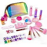 balnore Set de Maquillaje para niña de 21 Piezas de Maquillaje cosmético Lavable para niñas Maquillaje de Juguete para niñas