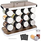 BEYAOBN Présentoir à Épices -12 Pots Verre, Acier Inoxydable Portable Porte-épices, Pour Rangement Epices Cuisine, Barbecue,