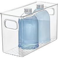InterDesign Linus boite stockage, rangement tiroir de taille moyenne en plastique avec poignées, transparent