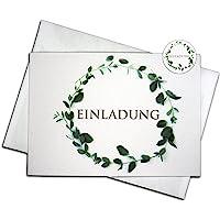 """15 Einladungskarten & 15 Umschläge & 15 Sticker – Klappkarten SET""""Eukalyptus"""", Geburtstag, Hochzeit, Taufe, Konfirmation…"""