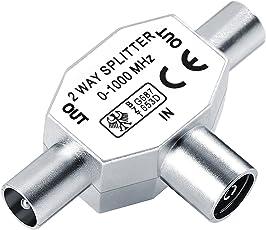 HOOMIL Antennenverteiler T-Adapter Antennenkabel Verteiler (1x Koax-Kupplung, 2X Koax-Stecker)