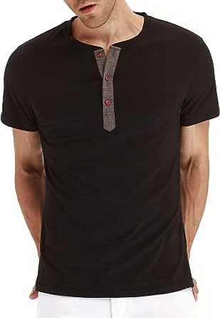 LBL Mens Fashion Casual Front Placket Basic Long/Short Sleeve Henley T-Shirts