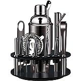 X-cosrack Barman Kit: 18-delige matte zwarte cocktailshaker-set met draaibare standaard, roestvrijstalen staafgereedschapset