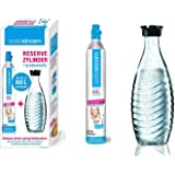Sodastream Pack Cylindre CO2 supplémentaire + 1 Bouteille en verre