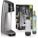 Soda Trend Style Wassersprudler-Set inkl. PET-Flasche (ca. 850 ml Füllmenge) + CO2-Zylinder für bis zu 60 l, schwarz