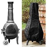 Patio Heater Cover Outdoor Chimenea Covers Waterproof Heavy Duty Garden Heater Rain Sun UV Protector 1.2m High Black