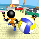 Stickman voleibol en la playa