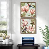 Painting Mantra Floral Canvas Painting for Wall, Vintage Floral Framed Painting for Living Room Black, Size : 13x13 Inches