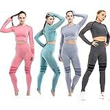 C K CrisKat Conjunto de Ropa Deportiva para Mujer Top de Running de Manga Larga de 2 Piezas Sin Costura Pantalones de Cintura
