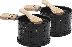 COOKUT - Lumi - Une raclette à la Bougie - Faites Fondre Votre Fromage en 3 Minutes - A Table, Devant la télé ou même en Pique Nique - Spatule Bois inclues - sans électricité - Pack de 2 appareils