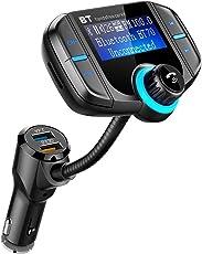 Comsoon Bluetooth FM Transmitter KFZ Wireless Radio Adapter Freisprecheinrichtung Smart Dual USB-Anschlüsse Auto-ladegeräte mit Quick Charge 3.0 , 3.5mm Aux&TF Karte Slot für iOS- und Android-Geräte