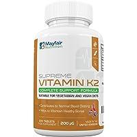 Vitamine K2 (Menaquinone) pour les végétaliens et les végétariens | Maintenance de haute qualité pour les os, les dents et pour un cœur sain | Aide à l'absorption appropriée du calcium