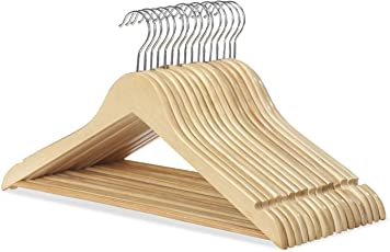 "TPI 12 PCS 17"" wooden cloth hangers"