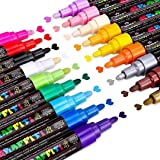 Marqueur Peinture Acrylique, Emooqi 18 couleurs Peinture Acryliques Stylos Marqueur Peinture Permanent Art Peinture Set avec