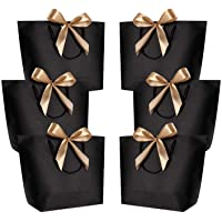 WantGor Gift Bags with Handles 14.2x10.2x4.3inch Paper Party Favor Bag Bulk with Bow Ribbon for Birthday Wedding/Bridesmaid Celebration Present Classrooms Holiday(Black, Large-6 Pack)